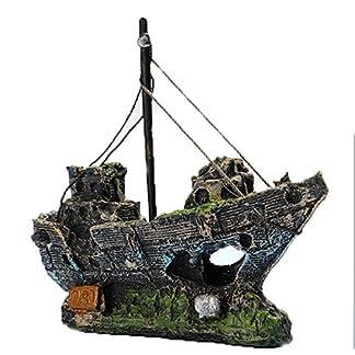 Kfnire Resin Fishing Boat Aquarium Ornament Plastic Decoration Plant for Fish Tank Accessories 20