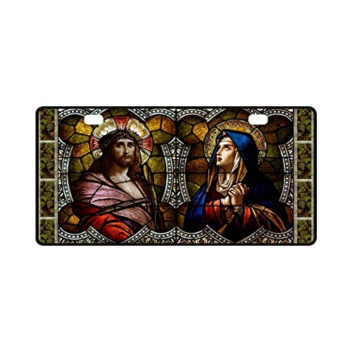 BNHF Catholic Christian Religious Church Gift Jesus Christ The Son of God Strong and Durable Aluminum Car Metal License Plate for Car Two Car Tag 11.8