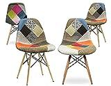Nome prodotto :Set da 4 - Sedia DSW Patchwork - Cucina/Soggiorno/Camera/Ufficio  Quantità : 4 pezzi  Colore : MulticoloreDimensioni :  55 x 48 x 83 (cm) Altezza della seduta da terra :  47 cm Materiali :   - Sedile: Tessuto patchwork; ...