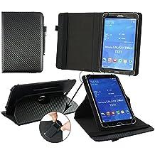 Emartbuy® BQ Elcano 2 QuadCore Tablet Universal ( 7 - 8 Pulgada ) Negro Carbon 360 Grados Soporte Giratorio Folio Carcasa Wallet Case + Negro Lápiz Óptico