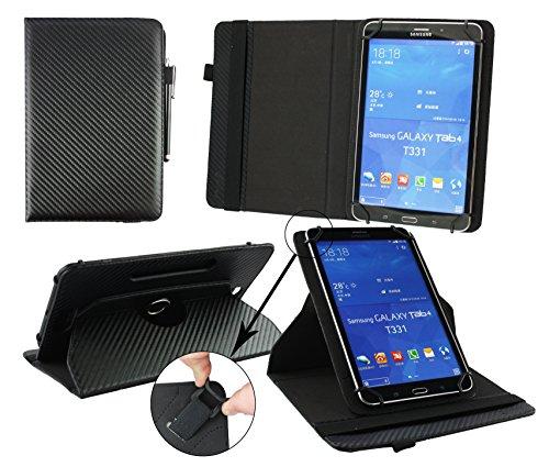 Emartbuy® Blaupunkt Polaris QC Tablet 7.85 Zoll Universal (7-8 Zoll) Schwarz Carbon 360GradrotierendeStandFolioGeldbörseTascheHülle + Schwarz Eingabestift