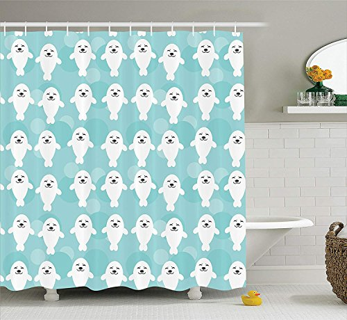 tgyew Sea Animals Decor Shower Curtain Set, White Baby Seals with Cute Faces Children Baby Smiling Cheerful Kids, Bathroom Accessories, 60W X 72L Inche Long -