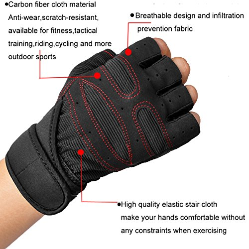 YYGIFT-Durable-Microfiber-Cloth-Non-slip-Gloves-Breathable-Half-finger-Gloves-for-Weight-Lifting-Training-Fitness-Gym-Workout-Crossfit-Sports-Black-L