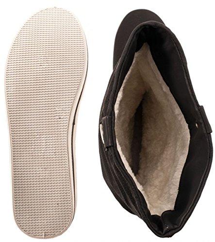 Flache Damen Schlupfstiefel bequeme Stiefel Boots Schwarz X
