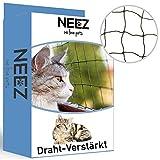 NEEZ - Rete per gatti rinforzata in filo metallico per balconi e finestre, 3 x 8 m, incluso un set di fissaggio senza necessità di foratura