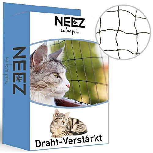 NEEZ Draht-Verstärktes Katzennetz für Balkon & Fenster 3x8m I Katzennetz drahtverstärkt inkl. Befestigungsset I Befestigung ohne Bohren möglich