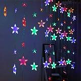 Igemy Sterne Vorhang Lichter 40 Sterne Lichter Fenster Lichterketten Plug in Vorhang String (Mehrfarbig)