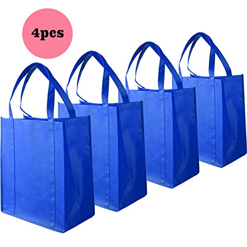 Yantu Pack of 4 Strong Non-Woven Reusable Portable Shopping Bag Recycled Eco Friendly Shopper Tote Bag (Blue)