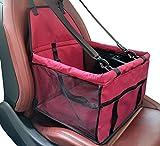 YOUJIA Wasserdicht Atmungsaktiv Auto-Hundesitz für Kleine Hunde Katze Autositz Sicherer Träger Tragetasche Haustier auf Rückbank und Vorderbank (Wein Rot, 40*30*25cm)