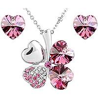 Le Premium® - Parure placcata oro bianco collana trifoglio e orecchini cuore coordinati, con cristalli (Cuore Rosa Orecchini)