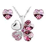 Le Premium® Schmuck-Set vier Blättern Klee Halskette+ohrring Gestüt Herz geformt Swarovski Saphirblau Kristalle
