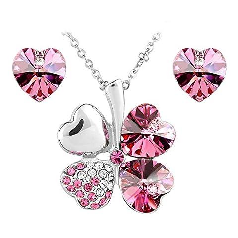 Le Premium® Schmuck-Set vier Blättern Klee Halskette+ohrring Gestüt Herz geformt Swarovski Saphirblau (Cuore Rosa Orecchini)
