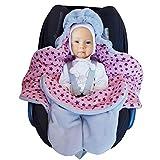 SWADDYL - Copertina universale in cotone avvolgente neonato per ovetto, seggiolino auto Maxi Cosi, passeggino e coprigambe per carrozzina, inverno sacchi termici polare (Rosa)