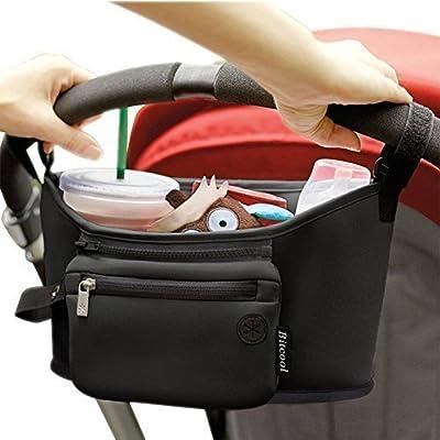 Bolsa Cochecito–Neopreno de alta calidad–para Niños o de almacenamiento, Organizador para cochecitos de bebé, Cochecito, termo con portavasos y bolsillo Central, 1bolsillo extraíble con cremallera | negro elegante