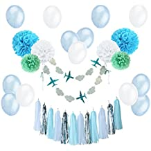 Easy Joy Deco para Niños, Banner Airplane with Clouds, Pompom Decoración de Tarjetas para