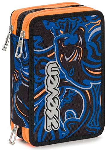 Astuccio 3 Zip Seven Wildy Boy, Blu, Con materiale scolastico: 18 pennarelli Giotto Turbo Color, 18 matite Giotto Laccato...