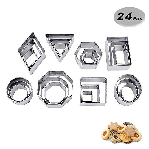 VOARGE Mini geometrisch geformte Cookie Keks Ausstecher Set 24 Octagon Einfacher Rand Geometrische Formen Mini Schneider, DIY Tools für Küche, Backen, Halloween, Weihnachten (Octagon) -