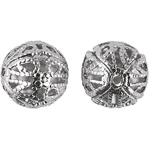RAYHER - 2209962 - In alluminio delicato-perline, 10 mm di diametro, SB-BTL 4 pcs, Argento