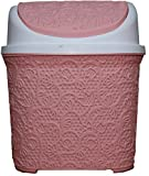 Lace Style Plastic Click Dust Bin Rubbish Waste bin 5.5 Liter for Home and Office use New (Pink/White)