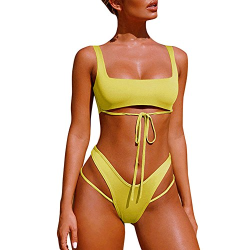 TOPDEAL Gepolsterter Verband Fest Badeanzug Damen Neckholder Bademode Push up Tankini Bandeau mit Bikini Triangle Beachwear (Gelb, Large)