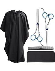 Frcolor Haarschere Set, Edelstahl Haarschneide Scheren Haar Effilierschere mit Barber Cape, friseurschere set haarschere für Männer Frauen Kinder