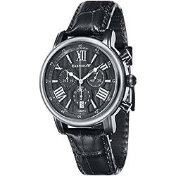 Thomas Earnshaw Longcase 43 Men's Quartz Watch with Grey Dial Analogue Display with Black Leather Strap ES-0016-07