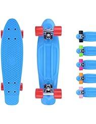 City ridertm monopatín azul de Original Mini Cruiser skateboard 22 pulgadas/57 cm – Retro Skateboards para niños y niñas azul / rojo