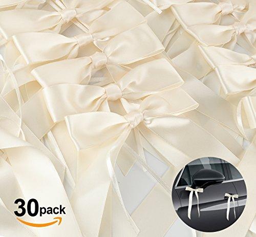 Absofine 30er Antennenschleifen Hochzeit Deko Autoschmuck Cream Autoschleifen Schleife Satinband