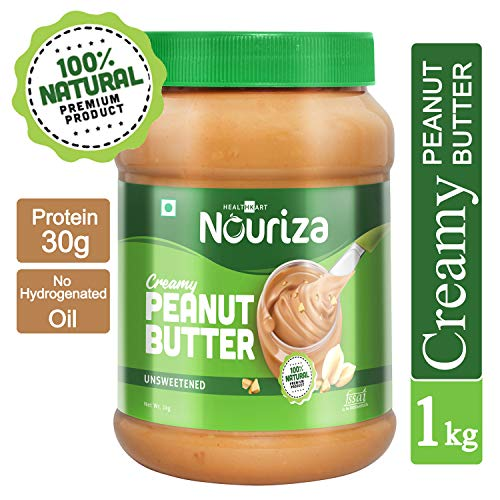 Nouriza 100% Natural Peanut Butter, Unsweetened (Creamy, 1 Kg)