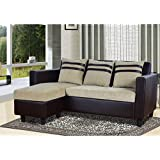 Furny Mint L-Shaped Reversible Sofa (Beige-Brown)