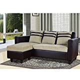 #6: Furny Mint L-Shaped Reversible Sofa (Beige-Brown)
