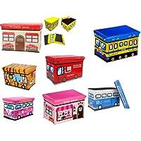 Astro Childrens Folding Storage Toy Box Padded Seat Stool - Train