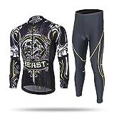 Männer Radsportbekleidung Anzüge Fahrrad Jersey Sportsätze Atmungsaktiv Schnell Trocken Leicht Reit Kleidung für Wandern Fitness Gym Übung Ausbildung (S Lange anzug)