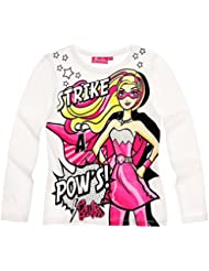 Camiseta de manga larga para niño, diseño de Barbie para niña, color blanco 2 a ocho años.