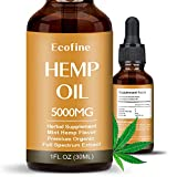 Hemp olio di canapa goccia 30 ml ingredienti naturali puro Full Spectrum Co2 estratto Spectrum Extract olio di semi di canapa antinfiammatorio ausiliario, Full (5000 mg)