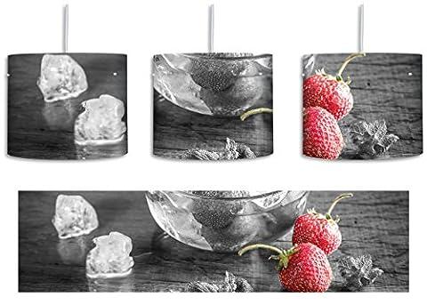 Frische Erdbeeren in Eiswürfeln Schwarz/Weiß inkl. Lampenfassung E27, Lampe mit Motivdruck, tolle Deckenlampe, Hängelampe, Pendelleuchte - Durchmesser 30cm - Dekoration mit Licht ideal für Wohnzimmer, Kinderzimmer, Schlafzimmer