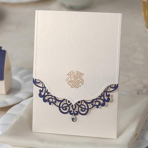 Wishmade Einladungskarten Hochzeit Kits mit 50X Blue Lace Floral Lasercut und Strass Elfenbein Perlmutt Papier Tonkarton für Hochzeit Partei Gefälligkeiten Geburtstag Karten CW502