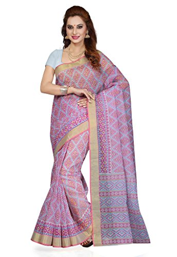 Ishin Gadwal Cotton Purple Printed Women's Saree  available at amazon for Rs.499