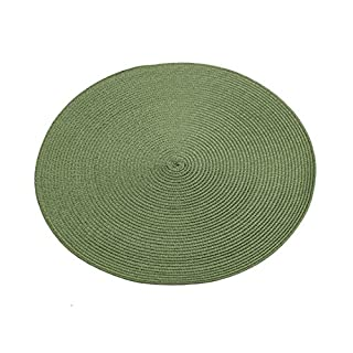 Lusons Adron 2pc 37cm Round Woven Placemats Easy Clean Set of 2 Dinning Table Mats (Dark Green)