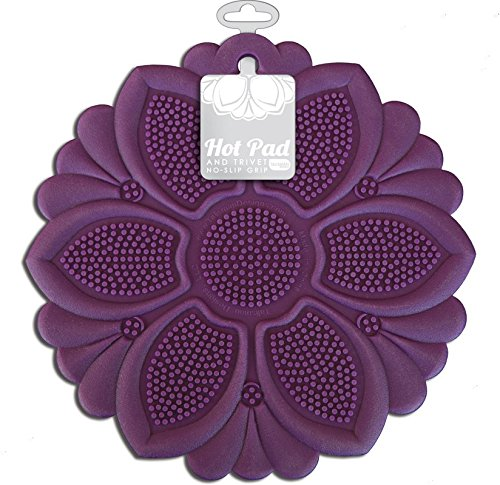Talisman Designs Anti-Rutsch-Griff-Hot-Pad, lila, Topflappen, Löffelablage, Glasöffner und Untersetzer, BPA-freies Silikon violett Hot-pad