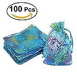 WINOMO Organza Drawstring Taschen mit Krawatten 100pcs Schmuck Beutel Süßigkeiten Tasche Kleine Geschenk Taschen für Hochzeit Party 12 x 9cm (Blue Coral)