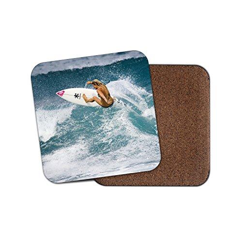 Surf Girl Surfer Surfen Geschenk Kork Getränke Untersetzer für Tee & Kaffee # 8085, holz, 2 Coasters (Gedruckt Surf)