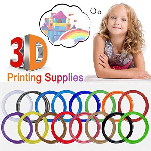 16 Stück 3D Stift Filament Nachfüllung PLA Material DIY Scribbler, je 5M - 3D Pen PLA Filament 1,75mm,Passend für die meisten 3D Stift and 3D Druck Stift (Mehrfarbig, 16 x 3D Filament Refill)