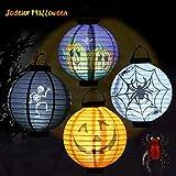 Calabaza Linternas Halloween, Decoracion Halloween, ICOCO Linternas Halloween 4 PCS+Araña
