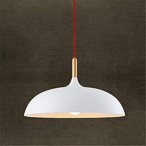 CAC Moderno estilo nórdico de luz colgantes Luminaria de suspensión lámpara colgante Vintage colgante de madera rústica Lámpara Luz Tulipa de aluminio,blanco B