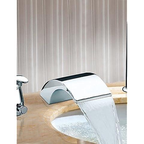 KISSRAIN® Grifo de la bañera - contemporáneo - cascada / Sidespray - acero inoxidable (cromo)