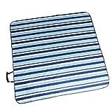 FLAMEER Picknickdecke Wasserdichte Stranddecke schnell trocknend Campingdecke - Blauer Streifen, 200 x 200 cm