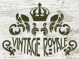 Schablone Vintage Royale - Ornamente - Kronen Stencil - shabby chic Deko - einfache Dekoration für Möbel, Stoff, Schilder, Kuchen und Torten - DIN A2, DIN A3 oder DIN A4