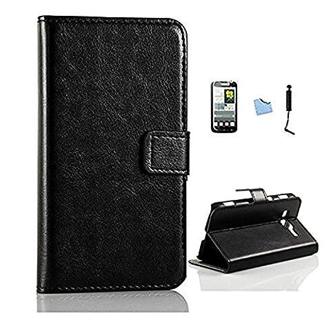 ARTLU® Wallet Flip Case Cover Housse Portefeuille Etui Pour Coque Samsung Galaxy Grand Neo (GT-i9060, GT-i9060DS, GT-i9060L) , Stylus et Film protecteur inclus Noir