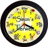 Lucky Clocks TIERWELT GEBURT GEBURTSTAG Wanduhren für jeden Anlass mit jeder Beschriftung und jedem Vornamen Namen erhältlich
